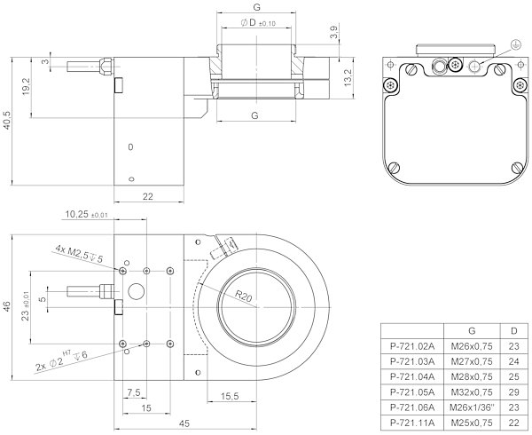 P-725.xCA, dimensions in mm (please order adapter set separately)