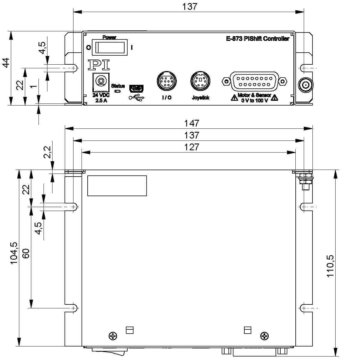 E 873 Q Motion Servo Controller 1 Axis Meter Block Diagram 8731ar Dimensions In Mm