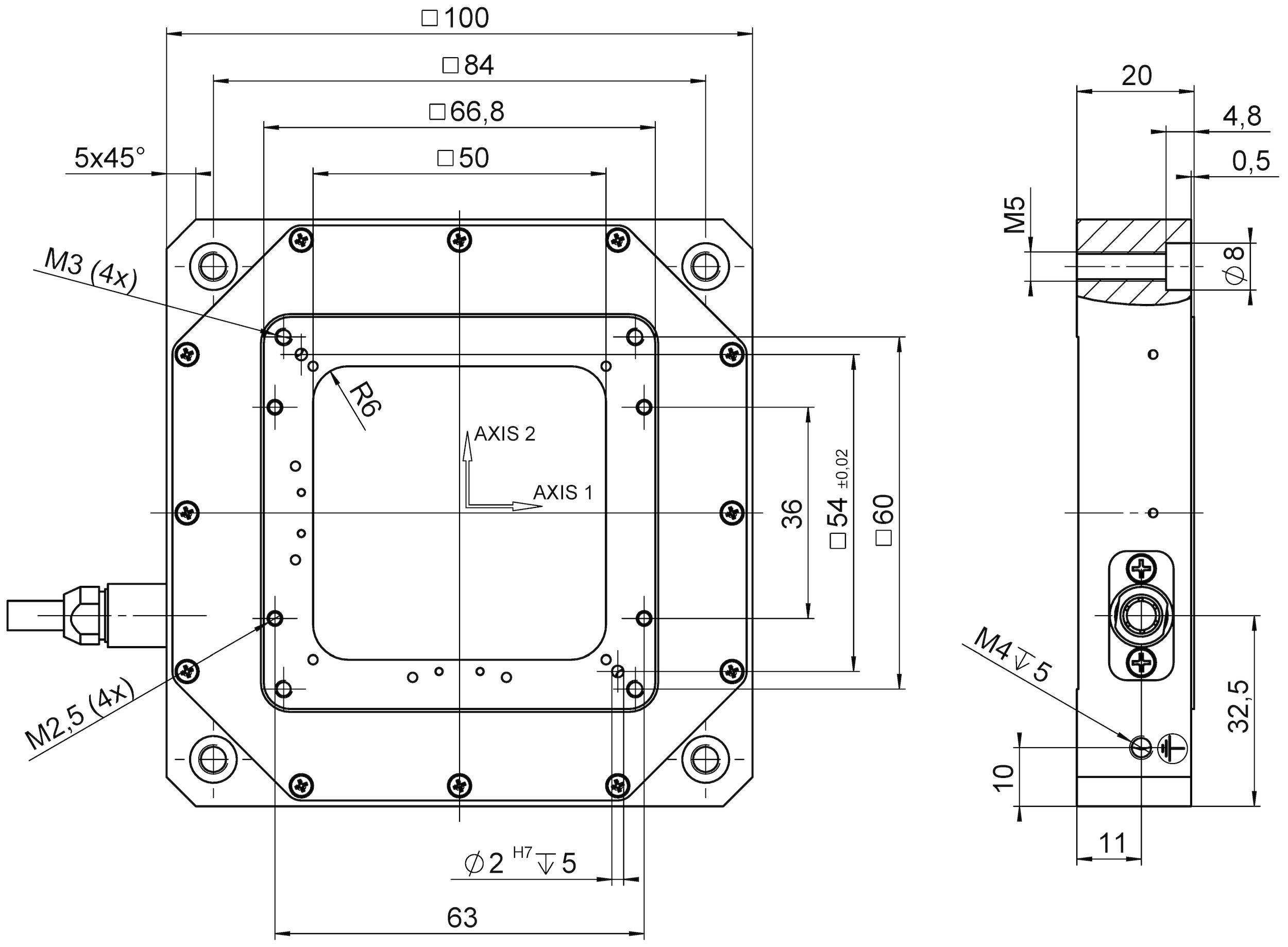 P 7332 Xy Piezo Nanopositioner You Need To Know About Piezoelectric Ultrasonic Transducer Circuit 7332dd Dimensions In Mm