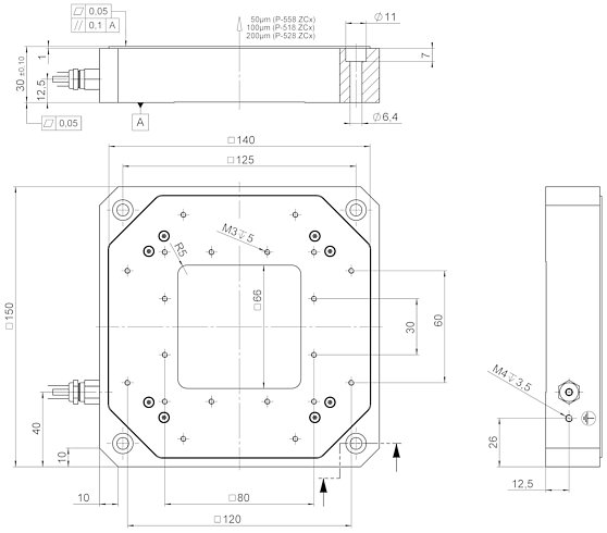 P-518 • P-528 • P-558 Z stage, dimensions in mm