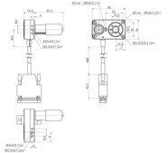 DT-34 with DC motor, dimensions in mm