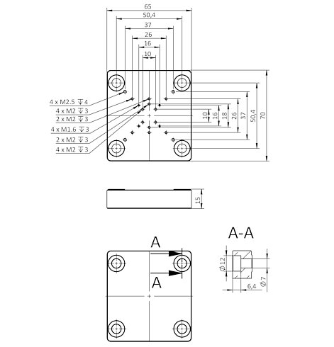 Q-101.AP1 adapter plate, dimensions in mm