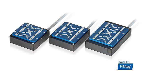 V-522, V-524, and V-528 linear stages with flat voice coil motors for high dynamics and compact installation space