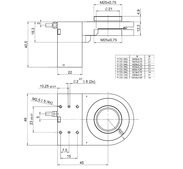 PI PD72z2x Drawing, PD72ZxCAQ with M25-QuickLock adapter, dimensions in mm