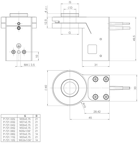 P-721.xxQ, .SL2, dimensions in mm (please order adapter separately)