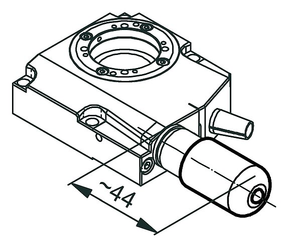 RS-40 rotation stage, DC motor, dimensions in mm. Note that a comma is used in the drawings instead of a decimal point.