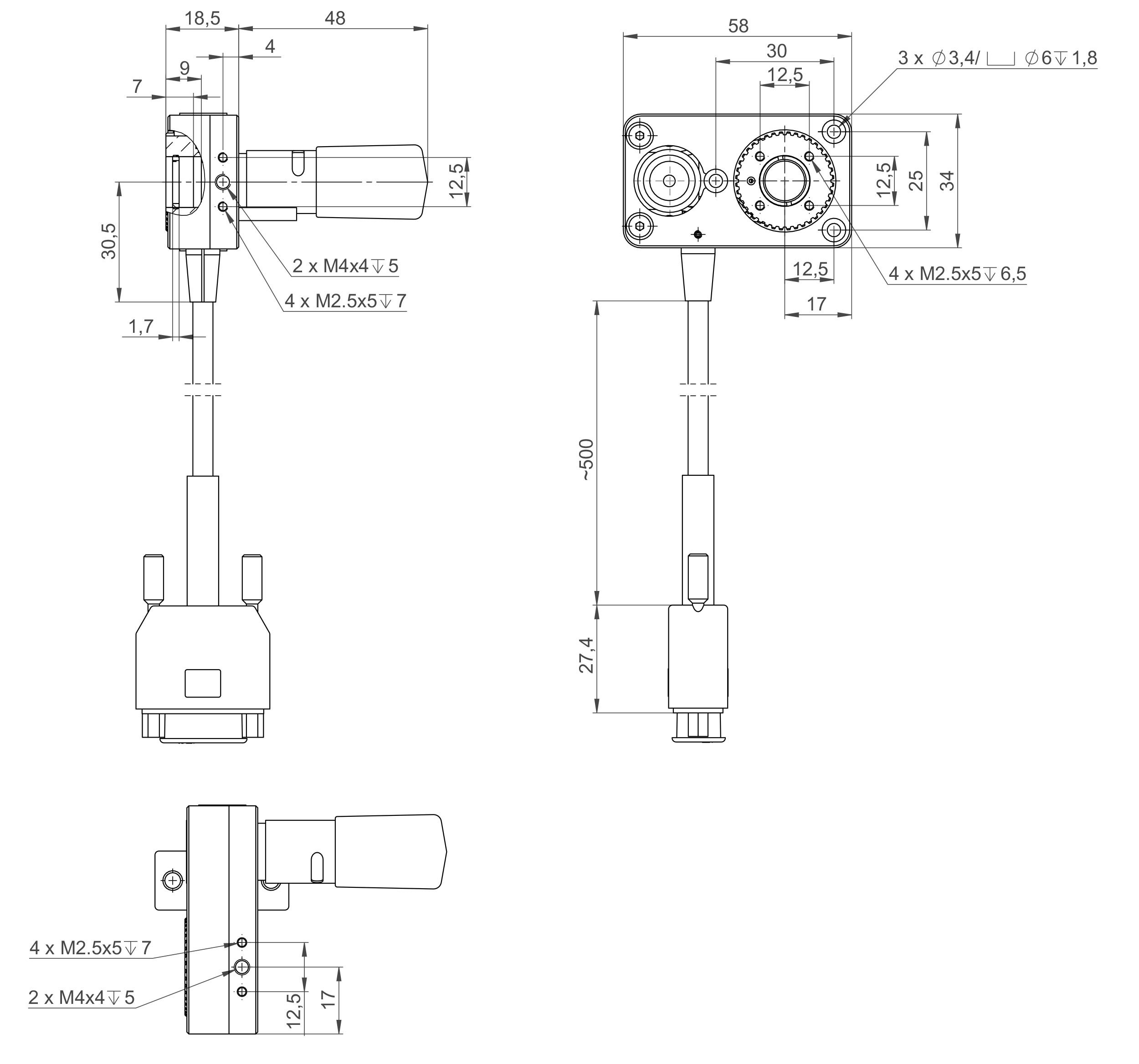 DT-34 with stepper motor, dimensions in mm. ‹ ›