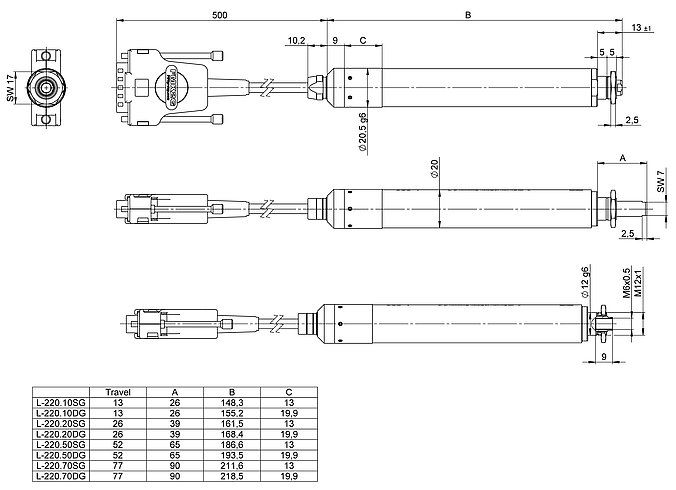 L-220, dimensions in mm