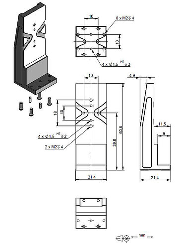 Adapter bracket Q-122.200, dimensions in mm