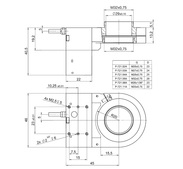 PI PD72z2x Drawing, PD72ZxCAA with M32-QuickLock thread adapter with large aperture, dimensions in mm