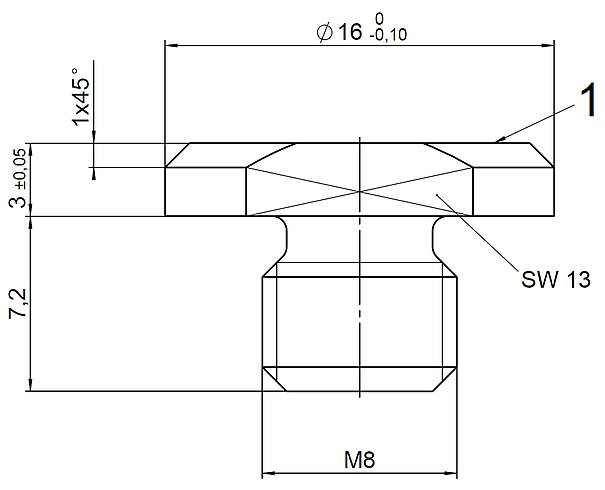 P-176.F25, dimensions in mm. 1 = Contact surface hardened and polished.