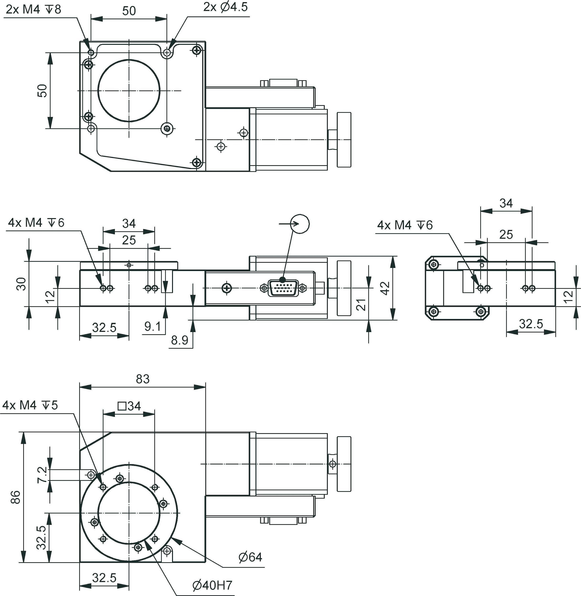 Dt 80 Compact Rotation Stage Circuit Diagram Furthermore Variable Frequency Drive Dimensions In Mm