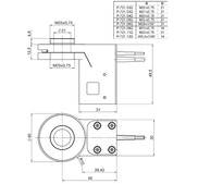 PI PD72Z1x Drawing, PD72Z1xAQ with M25-QuickLock adapter, dimensions in mm